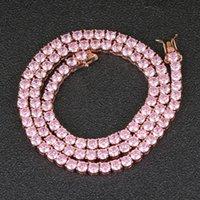 4 ملليمتر 16 بوصة 18 بوصة الوردي اللون الزركون سلسلة التنس المرأة النحاس مكعب 1 صف 4 قلادة مجوهرات هدية سلاسل BC104