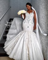 2020 Arabic Plus Size Luxurious Lace Beaded Wedding Dresses Crystals Mermaid Bridal Dresses Vintage Ruffles Country Wedding Gowns