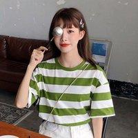 Women's T-Shirt Fashion Women Summer Tee Top Loose Striped Print Casual Girls Tshirt Tops
