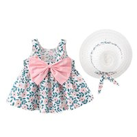 Clothing Sets Kids Summer Set Mori Girl Style Baby Girls Sleeve Flower Print Princess Dress+Hat Outfit Clothes Set#50