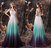 Colorful Prom Dresses Dance Party Gowns Homecoming Dress Chiffon Appliqued Sweetheart Lace-up