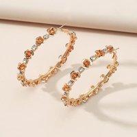 Hoop & Huggie Exaggerated Circle Rose Women's Charm Earrings Temperament Retro Metal Zircon Geometric Jewelry