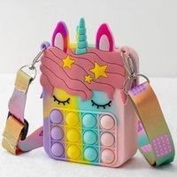 Pop Unicorn Sensory Bubbles Fidget SHoulder Bag Cellphone Straps Push Simple Dimples Crossbody Bags Decompression Finger Popping Change Purse Girls Kids Gift Toy