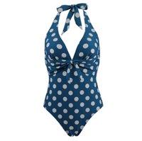 2020 جديد زائد حجم قطعة واحدة ملابس السباحة الأزرق البولكا نقطة المايوه النساء الرجعية monokini مثير البيكينيات عارية الذراعين الاستحمام الدعاوى
