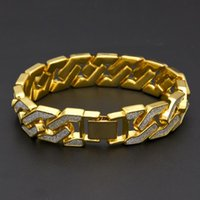 Link, Chain Men's Bling Sand Blast Iced Out Bracelet Hip Hop Gold Silver Color Cuban Link Heavy Bangle For Women Hiphop Jewelry Gift