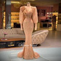 럭셔리 두바이 로즈 골드 긴 소매 이브닝 드레스 여성용 웨딩 파티 가운 3D 꽃 구슬 Musim 공식 무도회 드레스 2021