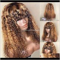 Products Drop Доставка 2021 Выделение Кудрявые человеческие парики волос с челкой Бразильский REMY Mody Blonde Color 13x4 кружевной фронт для чернокожих женщин