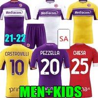 2021 2022 Fiorentina Ev Uzakta Futbol Formaları 21 22 Ribery Callejon Prens Chiesa Floransa CuLtrone Puargar Pezzella Vlahovic Milenkovic Erkekler Futbol Gömlek ACF