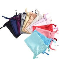 Satin Drawstring Bags Silk Cloth Jewelry Wigs Cosmetic Packaging Eye Mask Pouches Sachet Ribbon Bag 16x12cm DWF6857
