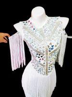 NightClub Femmes DJ Singer Performance Strass Strass Miroirs Tassels Body Barreau Bar Party Dancer Jazz Dance Costume Sauts pour femmes