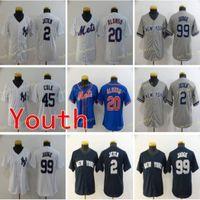 Youth 20 Pete Alonso Бейсбол для бейсбола 2 Джетер 45 Gerrit Cole 99 Aaron Судья Детская рубашка синий белый серый сшитый размер S M L XL