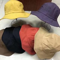 Fashion Women Beach Fisherman Hat Tie Dye Cotton Cute Solid Color Sun Protection Cap Female Outdoor Unisex Leisure Bucket Hats VT1560