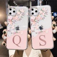 Casi di cellulare di silicio lettera iniziale per iphone 11 12 pro max x xr xs 7 8plus rosa flower morbido tpu retro copertura posteriore