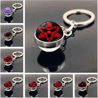 Keychains Anime Cartoon Keychain Jewelry Cosplay Uchiha Clan Sharingan Eye Double Sided Glass Ball Pendant Key Chain Ring Holder Gift