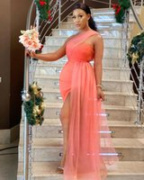 Plus Size Aso Ebi Bridesmaid Dresses Sweetheart One Shoudler Prom Party Bride Gowns with Tulle Flutter Side Split Long Maid of Honor for Weddings