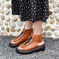 Rimocy New Soft Leather Rome Outdoor Sandals Women Summer Fashion Wedge Zipper Peep Toe Sandals Woman Platform Casual Shoes 210408