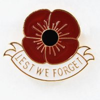 Luxury design gift Lest Forget Wholesale- We Ren better Selling British Remembrance Day Badge Souvenir Gold Color Poppy Brooch Pi
