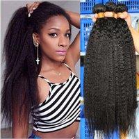 Human Hair Bulks Coarse Kinky Straight Bundles Brazilian Virgin Weave 100% 2&3 For Women Extensions
