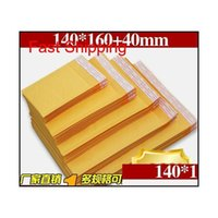 Yellow Kraft Paper Mail Air Bags Packing Bubble Cushioning Padded Envelopes Wrap 160Mm*140Mm 6.29*5.5Inch Drop E8Dmt 6OCR