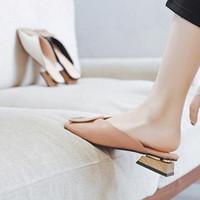 슬리퍼 플러스 사이즈 34-43 Desinger Women Mlow on Mules Square Toe 낮은 뒤꿈치 캐주얼 신발 나무 블록 여름 슬라이드 Footw