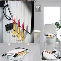 Cortinas simples do chuveiro de impressão Set Hipster High-grau Quatro peças Terno Banheiro Anti-Peeping Desodorante antiderrapante Devo Bath Habetes