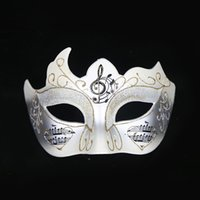 Music Theme Mardi Party Masks Bling Pattern Painted Half Face Festive Supplies Venice Style Lady Cosplay Plastic Mask for Masquerade
