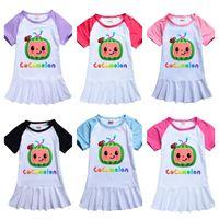 Cocomelon дизайн сна носить летние малыши девушки платья мультфильм девушка одежда бутик молока шелковая юбка длинная футболка тройник день рождения платье дизайн детей костюм g49n657