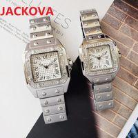luxury women men diamonds ring watch Fashion Full Stainless Steel Dress Watches Square Roman Dial Designer Relogio Feminino Lady Quartz Wristwatch