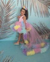 2021 Sevimli Renkli Çiçek Kız Elbise V Boyun Düğünler için Pembe Yüksek Düşük Ayrılabilir Tren Tül Ruffles Çiçekler Doğum Günü Kız Communion Pageant Törenler