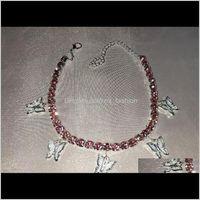 Anklets Jewelrystonefans Gold Tennis Rhinestone Jewelry For Women Crystal Butterfly Pendant Anklet Beach Foot Chain Bracelet Ps1821 Drop Deli