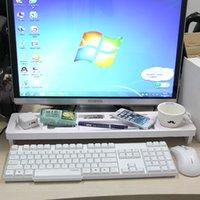 Prateleira do armazenamento do teclado do teclado do computador da gaveta de madeira branco do escritório do escritório do escritório para papelaria Papel de artigos de papelaria Saver de espaço 2 camadas