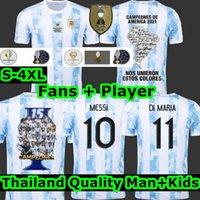 Fan Player Final Argentina Maradona Messi Soccer Jerseys 2021 22 Casa Away Kun Agüero di Maria Lo Celso Martinez Correa Jersey Jersey Camicia Uomini Bambini