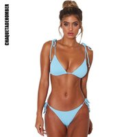بيكيني ملابس 2021 المرأة مثير ضمادة ملابس السباحة بسيطة نقية اللون الاستحمام الدعاوى الصيف قطعتين البرازيلي ثونغ بحر المرأة