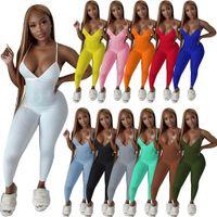 Kadınlar için Seksi Nervürlü Askı Halter Tulum Derin V Boyun Backless Sıska Tulum Kadın Fitness Activewear Bodycon Catsuits