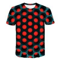 T 셔츠 기술 양털 재료 남성 기하학적 추상 다채로운 3D 디지털 일치하는 레깅스와 드레스 짧은 소매 티셔츠