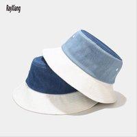 Chapeaux de godets unisexe denim de denim pêcheur capuchons épissures femmes bleues et blanches hommes Sunshade décontracté été large