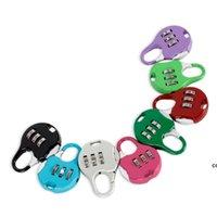 Mini Cadeado 3 Dial Digit Senha Combinação Fechaduras Bagagem Código de Metal Lock Travel Gym Locker Patry Favor 8 Cores Atacado DHD7369