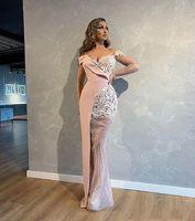 섹시한 인어 이브닝 드레스 칠면조 핑크 가운 드 SOIREE ONE 어깨 장식 스팽글 레이스 댄스 파티 가운 저녁 파티 가운