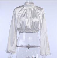 Spring autumn female fashion sexy render T shirt loose forging surface smoke plait lantern sleeve blouse