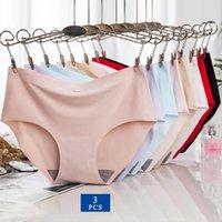 Wontive 3pcs lot Set Women's Underwear Clothing Pink Panty For Women Sexy Lingerie Briefs Slip Ice Silk Panties XL