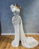 2021 Plus Size Arabic Aso Ebi Sequined Stylish Mermaid Wedding Dress One Shoulder Lace Beaded High Split Bridal Gowns Dresses ZJ224