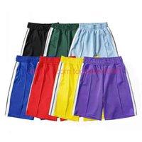 20SS Shorts Palm Tree Carta Impressão Rainbow Strip Tipbing Casual Cinco Ponto Homem Calças 2021 Designer Beach