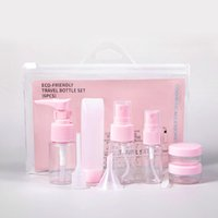 Reiseflaschen Kit, Leckdicht Tragbare Toilettencontainer Set, Klarer Haustier Fluggröße Kosmetische Behälter für Lotion, Shampoo, Sahne, Seife, Set von 9
