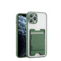 Bracket Card Pocket Transparent Cases For IPhone 11 12 Pro XS Max XR 7 8 Plus Se2020 Wallet Stand Shockpoof Anti-fall Phone Protective Cover
