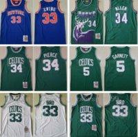 Top Mitchell y Ness Baloncesto Paul Pierce Jersey Kevin Garnett 5 Larry Bird 33 Patrick Ewing Ray Allen 34 Vintage Green Blue White Equipo