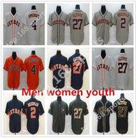 2021 휴스턴 남성 여성 키즈 청소년 20 21 Baseball Jerseys 27 Jose Altuve Jersey 4 조지 Springer 2 Alex Bregman Astros 스티치 해군 블루 오렌지 화이트 그레이 블랙