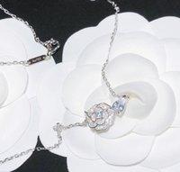 럭셔리 디자이너 쥬얼리 여성 목걸이 펜던트 Camelia Precieux 다이아몬드 꽃 더블 문자 C 패션 원래 상자 스털링 실버 18K 골드 도금