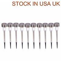 EE.UU. UK STOCK RGB 5W Alto Brillo Potencia solar LED Lámparas de césped con lámparas Lente de cristal de plata blanca, impermeable