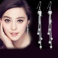 925 Stamp Sterling silver female models long paragraph five beads earrings retro fashion lovely wild super flash jewelry 795 Z2