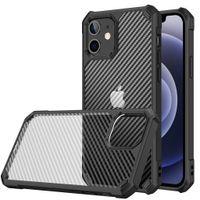 ألياف الكربون شفافة الهجين TPU الصدمات الحالات الهاتف الخليوي الصدمات لفون 12 11 برو ماكس XR XS X 8 7 زائد Samsung S21 Ultra